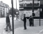 01.08.002: Rawlins Cross, St. John's. Young boys selling newspapers at the intersection pre 1950