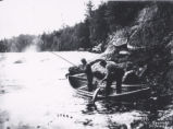 "(16 04 023) Humber River. ""Big Falls - Upper Humber - catching salmon,"" ca. 1900"