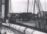 28.02.014: Houses, Unidentified. View of houses, with a wharf and an Irving Oil truck in the...