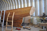 Baker, L. July 22, 2014. Sailboat under construction, Come by Chance, 2.