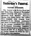Yesterday's Funeral: victims interred