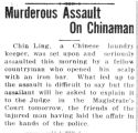 Murderous assault on Chinaman