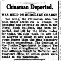 Chinaman deported: was held on burglary charge