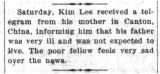 Kim Lee's father was very ill