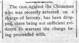 A charge against a Chinaman was dropped