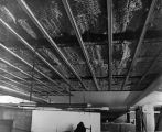 202 3rd. level acoustical resilient ceiling in its semi completed stage. Note the sound insulation...