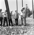 032 Witnessing the erection of first steel in communicore area, Wednesday, August 9, 1972.Right to...