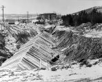 078 East west run of utilities tunnel at site of proposed Engineering Building. Excavations in the...