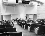 141 Photo taken December 18, 1973 from rear of tiered Lecture Theatre. Note permanent screen top...
