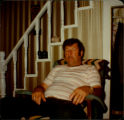 Dan O'Quinn in his favourite chair in the living room