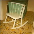 Rocking chair from the early 1800s, made by John Louvelle [?] of Stephenville. Owned by Mrs. Gaudon