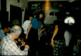 """Steppin' it up"" at Émile Benoit's house. Mike, Émile, Roberta, Helen, Berkly[?], Carol, Bernadette"