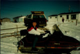 Sheena Power on a snowmobile, the main mode of transportation