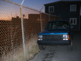 Fence and truck at night, Middle Battery Road