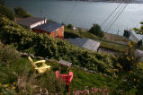 59 Battery Road - Red & Yellow chairs facing the harbor in garden