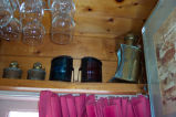 Port and starboard ship lanterns in Bruce Peters' kitchen