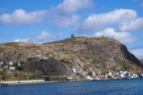 The Battery and Signal Hill as viewed from boat in harbour
