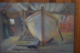 Pastel rendering of Bruce Peters' boat by B&B guest, in his house