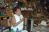Hennebury, Linda. Hennebury behind the bar at the Inn of Olde.