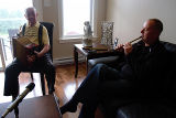 Ring, Patrick and Scott. Playing traditional music in their Quidi Vidi home.