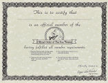 Soper, Edward. Certificate for membership in Official Order of The Sou'Wester.