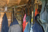 Fishing gear and clothing inside one of Yard's sheds.