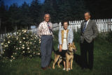 Allen Squires, his sister Delcie, Syl, and a Duke the dog.
