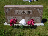 Ellen M. and Thomas J. Cadigan headstone in St. Francis of Assisi Cemetery