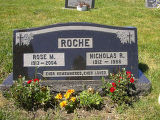 Rose M. and Nicholas R. Roche headstone in St. Francis of Assisi Cemetery