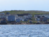 View from the water, houses and church, Joe Batt's Arm
