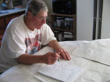 Len Brown mapping out the old stages, Joe Batt's Arm