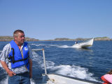Travelling in Ben Decker's speed boat from Pete Decker's stage in Joe Batt's Arm to Little Fogo...