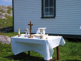 The altar set for Mass outside St. Anne's Church, Little Fogo Island