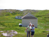 Cabin with three women, Little Fogo Island