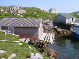 Fishing stages, stores and a cabin, Little Fogo Island