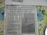Newspaper clipping of James Purchase, Peter Emberley's grandfather, Little Fogo Island