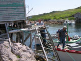 Peter Emberley's stage with people disembarking, Little Fogo Island