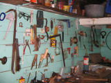 Tools in Peter Emberley's shed: Pete Emberley's store, Little Fogo Island