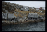 Buildings in Wadham's Harbour, viewed from the water, Little Fogo Island