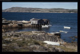 Two fishing stages, boats and wharf, Deep Bay