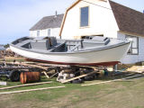 Trap skiff, preparing for launch, Seldom-Come-By