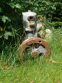 A ceased Acadia engine as yard art