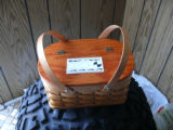 Woven mill basket, stained, Norris Arm North