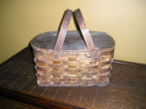Dark coloured woven mill basket, Grand Falls-Windsor