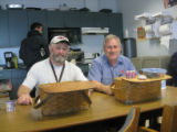 Mallows, Derek and Alvin Marsh with their lunch baskets, Halifax