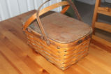 Woven mill basket with Peterboro Basket Co. stamp, Corner Brook