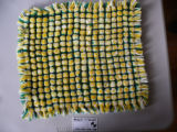 A pillow top woven by Elizabeth Murphy, made from Phentex wool.