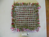 Pillow top woven by Dale Jarvis at the Weaving in the Wood pillow top workshop. Back.