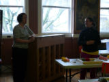 Jillian Gould (MUN Folklore Dept.) introduces Elizabeth Murphy, a pillow top tradition bearer.