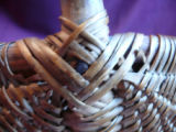 Woven berry basket, Conception Bay. Close up of wrapped half diamond ear.